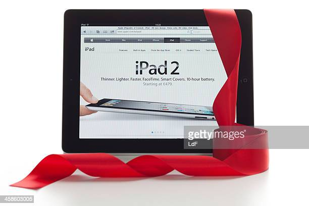 iPad with christmas ornaments and clipping paths.