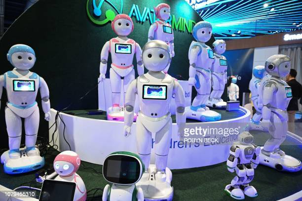 iPal smart AI for robots for children's education are displayed at the AvatarMind booth at CES 2019 consumer electronics show at the Las Vegas...