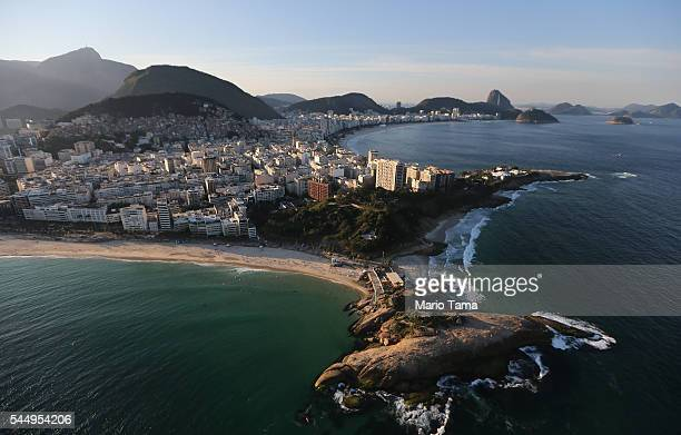 Ipanema beach Arpoador rock and Copacabana Beach one of the Olympic venue locations stand on July 4 2016 in Rio de Janeiro Brazil July 5 marks the...