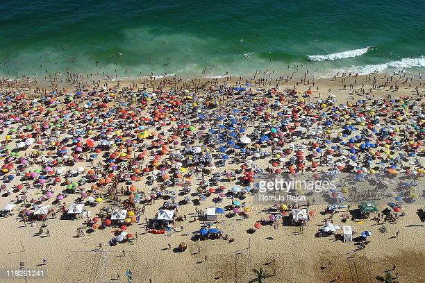 ipanema colors - crowded beach stock pictures, royalty-free photos & images