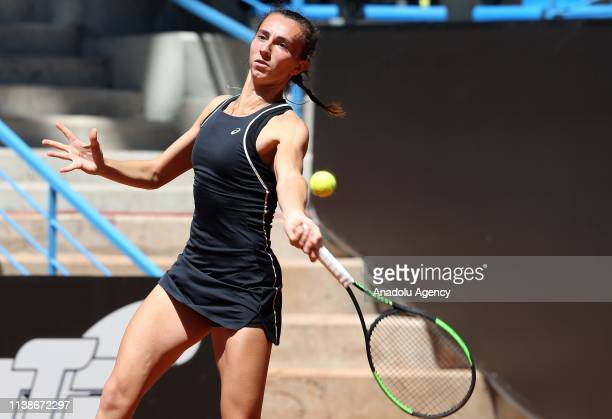 Ipek Oz of Turkey in action against Ana Bogdan of Romania during TEB BNP Paribas Istanbul Cup tennis match in Istanbul Turkey on April 22 2019