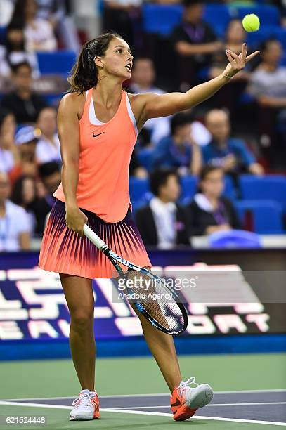 Ipek Soylu in action against Yang Zhaoxuan and You Xiaodi of China during the women's doubles final match of the 2016 WTA Elite Trophy Zhuhai at...