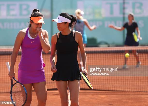 Ipek Soylu of Turkey and SuWei Hsieh of Taiwan in action during the TEB BNP Paribas Istanbul Cup women's couple tennis match between Ipek Soylu of...