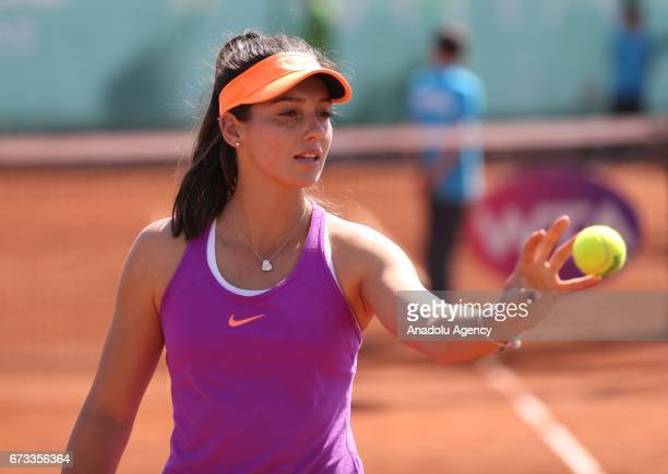 Ipek Soylu of Turkey in action during the TEB BNP Paribas Istanbul Cup women's couple tennis match between Ipek Soylu of Turkey SuWei Hsieh of Taiwan...