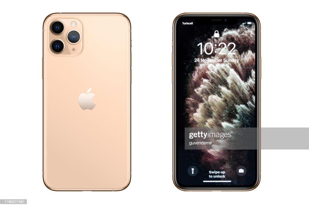 iPhone 11プロマックスゴールドスマートフォン : ストックフォト