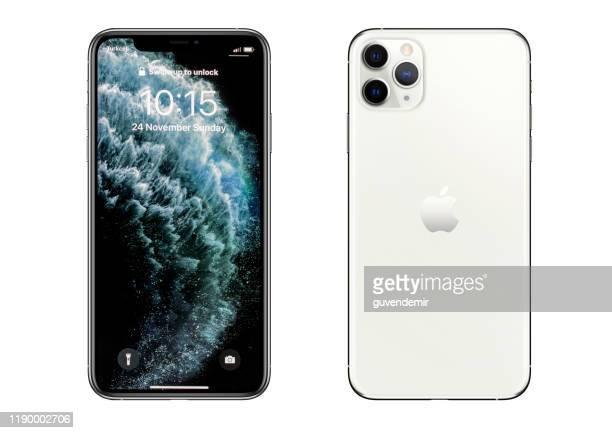 iphone 11プロマックスシルバースマートフォン - 数字の11 ストックフォトと画像