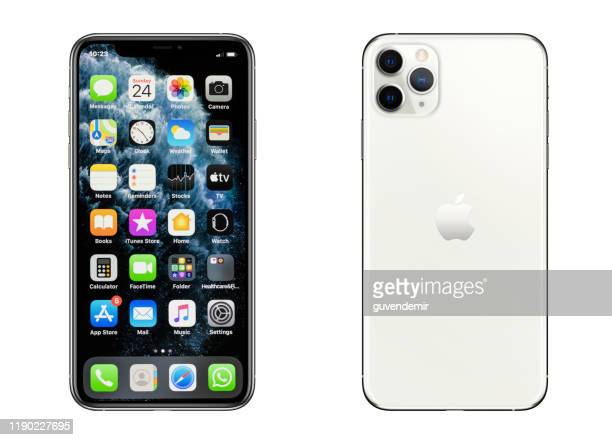 iphone 11 pro max silver smartphone - iphone stock pictures, royalty-free photos & images