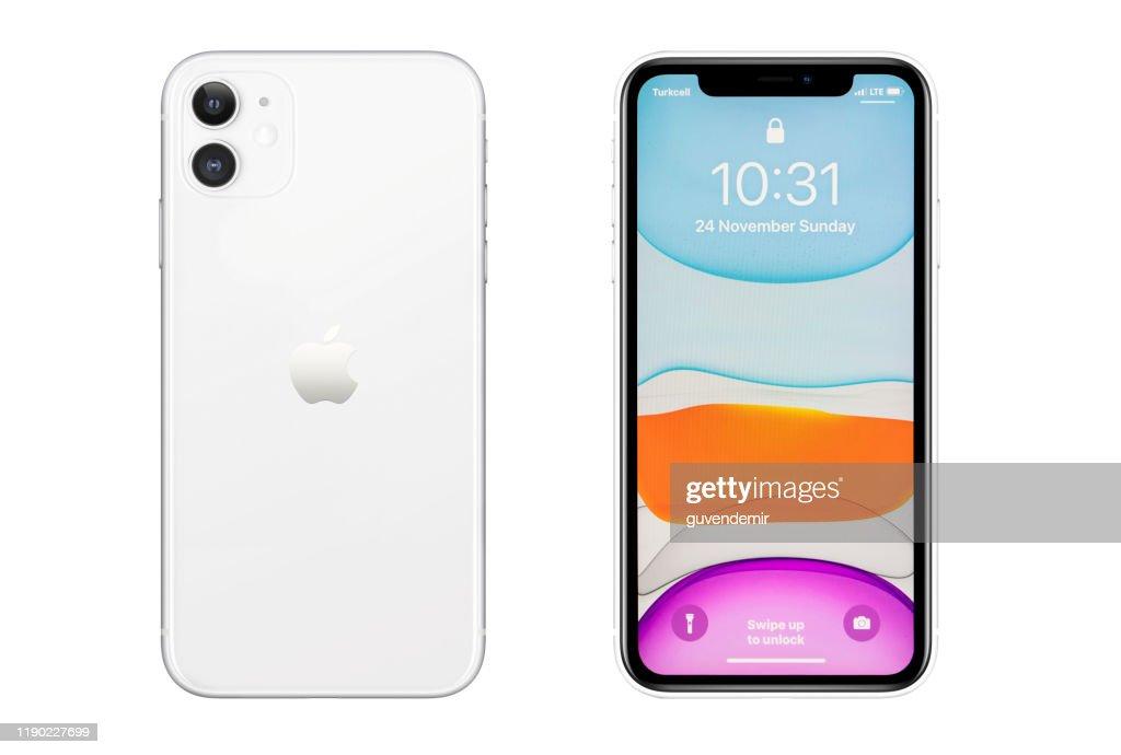 Iphone 11 Ecran Blanc Blanc Argente Blanc Blanc Et Arriere Sur Le Fond Blanc Photo Getty Images