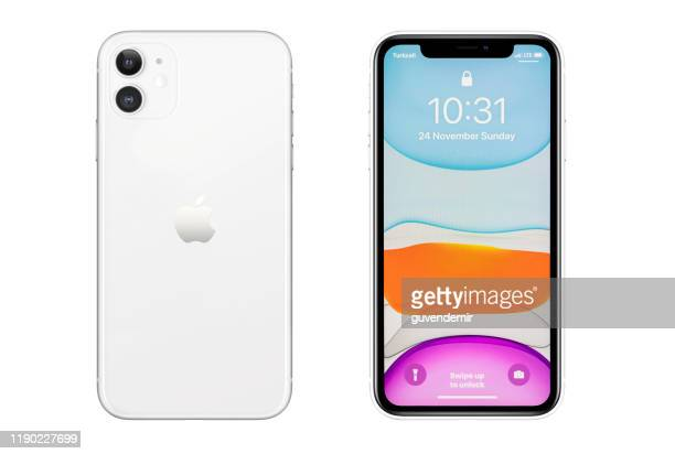 iphone 11 silver white blank screen and rear on white background - 11 stock pictures, royalty-free photos & images