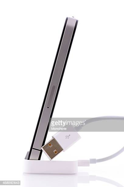 iPhone 4 and usb cable isolated