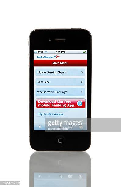 iPhone 4 with Bank of America on screen.