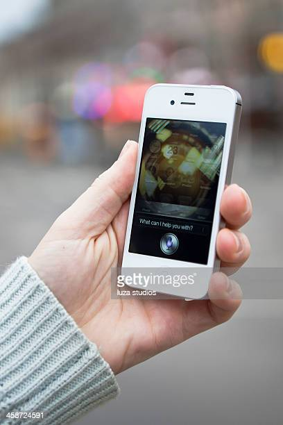 iphone 4s - siri application - siri mobile app stock pictures, royalty-free photos & images