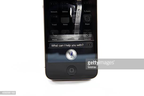 iphone 4s - what can i help you with ? - siri mobile app stock pictures, royalty-free photos & images