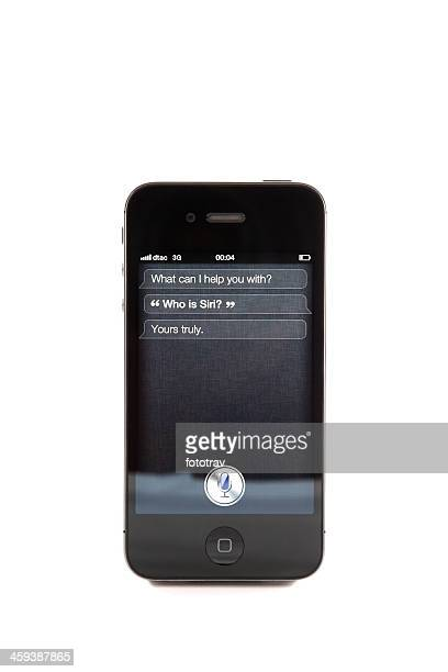 iphone 4s - who is siri ? - siri mobile app stock pictures, royalty-free photos & images