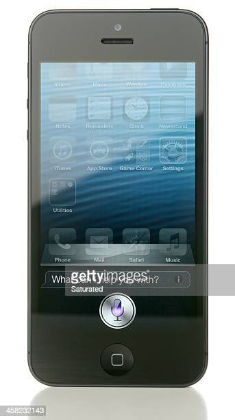 iphone 5 displaying siri - siri mobile app stock pictures, royalty-free photos & images