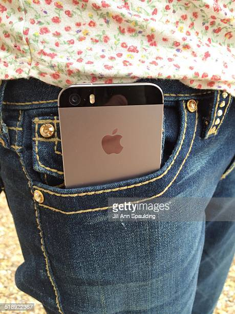 iPhone 5 in women's jeans front pocket back view
