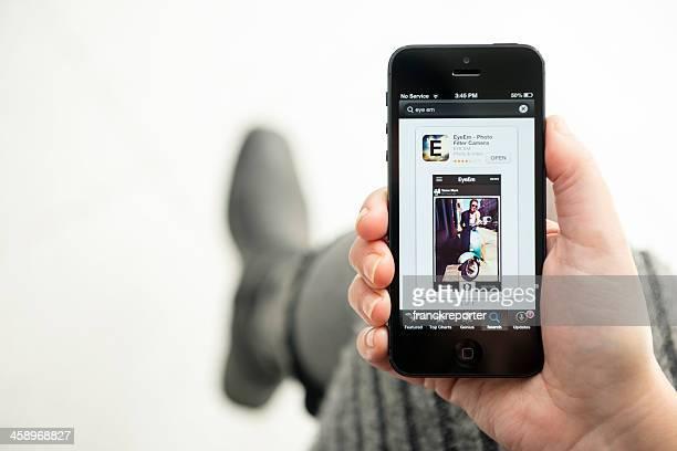 Iphone 5 with the EyeEm appmon Apple store