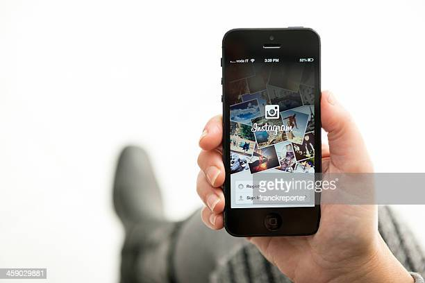 Iphone 5 with the instagram app landing page
