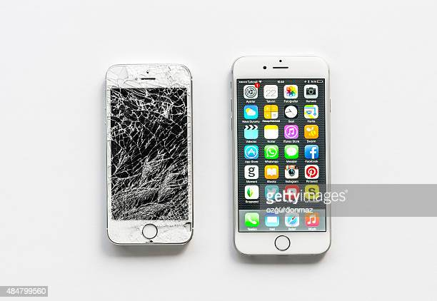 iphone 6 and broken iphone 5s - broken stock photos and pictures