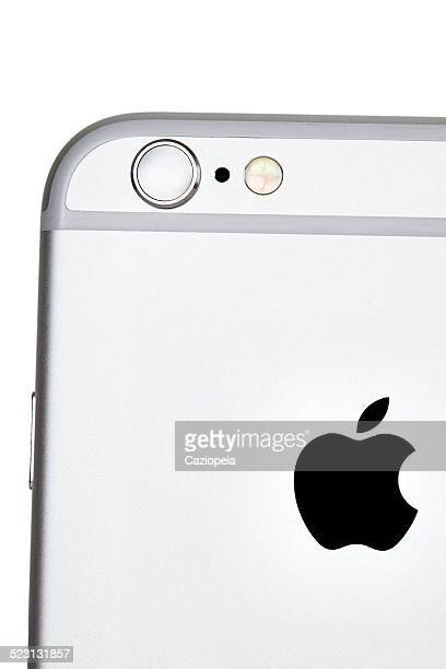 iPhone 6 Silver Back Showing Camera Isolated Close-Up