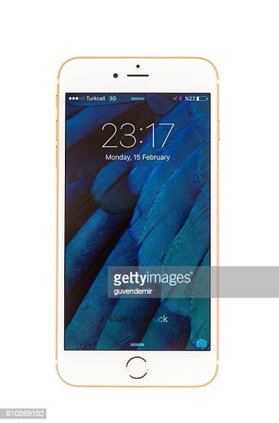 iPhone 6 Jahren und Gold, isoliert auf weiss