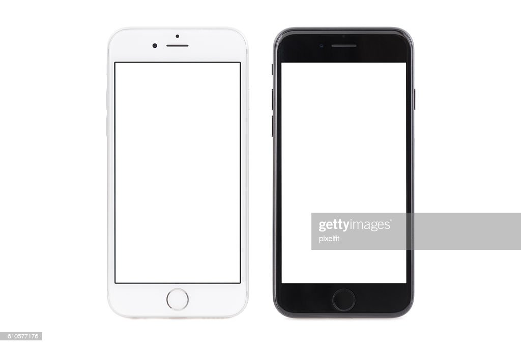 iPhone 6s white and iPhone 7 black : Stock Photo