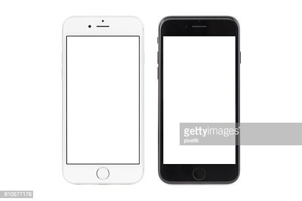iphone 6s white and iphone 7 black - white background stockfoto's en -beelden
