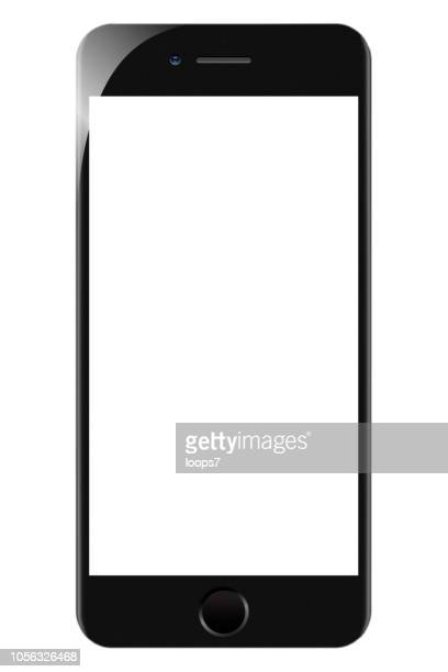 iphone 8 black with blank white screen - loops7 stock photos and pictures