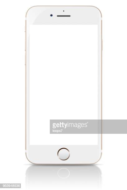 iphone 8 oro con pantalla en blanco - iphone screen fotografías e imágenes de stock