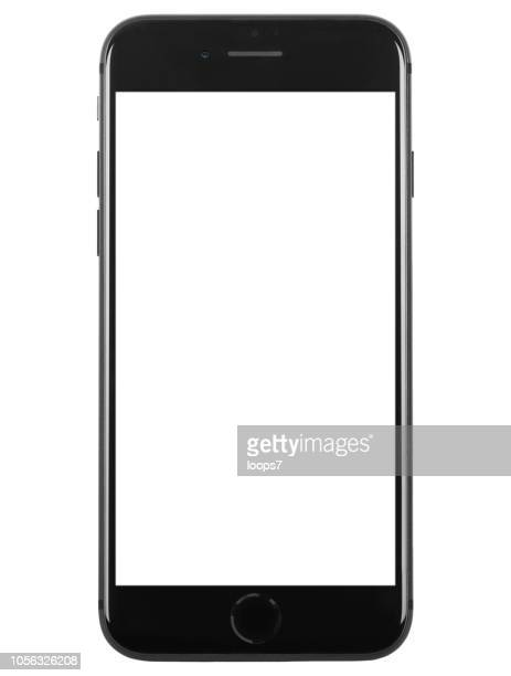 iphone 8 plus space gray with blank white screen - plus key stock photos and pictures