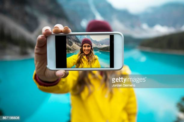iphone selfie - wilderness stock pictures, royalty-free photos & images