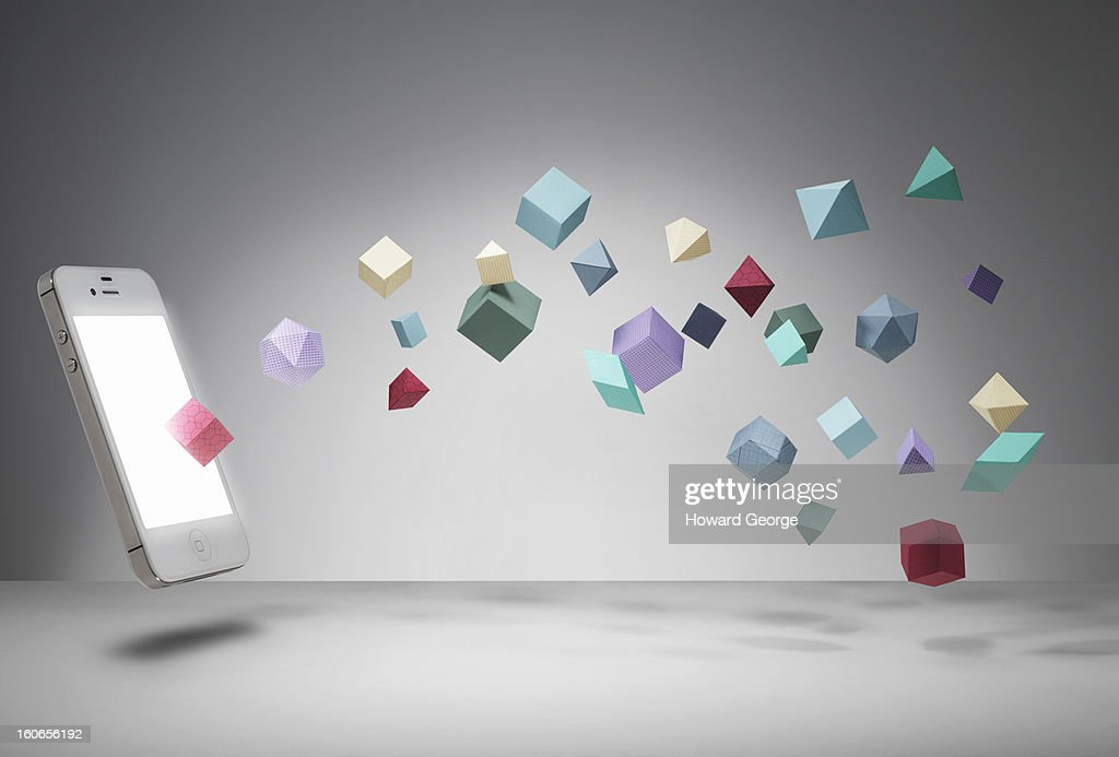 Iphone with geometric shapes : Stock Photo