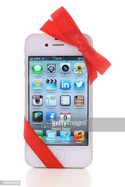 iPhone with red ribbon
