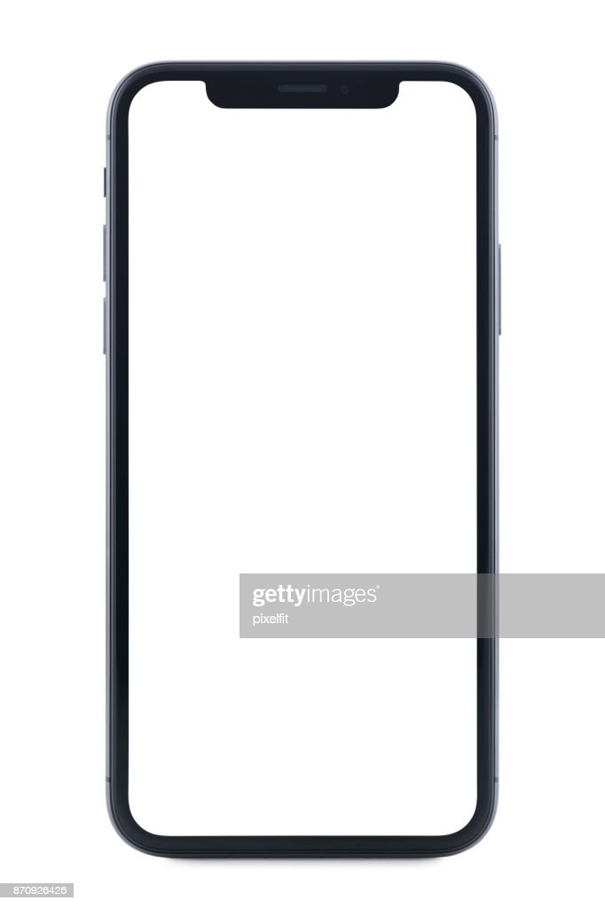 Iphone X With Blank Screen Isolated On White Background Stock Photo