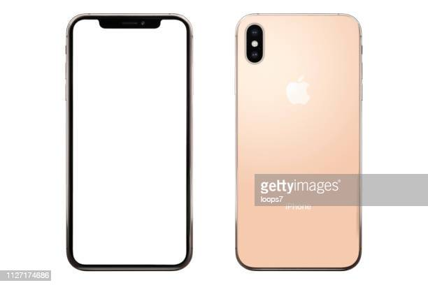 iphone xs max gold version. front and back view - max stock photos and pictures