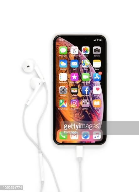 iphone xs silver with earpods - phone icon stock pictures, royalty-free photos & images