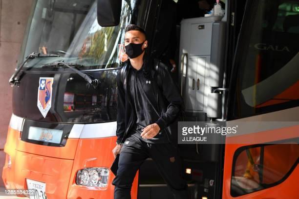 Ippei SHINOZUKA of Omiya Ardija is seen on arrival at the stadium prior to the J.League Meiji Yasuda J2 match between Omiya Ardija and Zweigen...