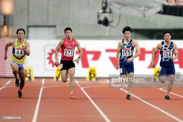 Ippei Takeda, Yoshihide Kiryu, Shuhei Tada and Yuki Koike compete in the Men's 100m final on day two of the 104th JAAF Athletics Championships at...