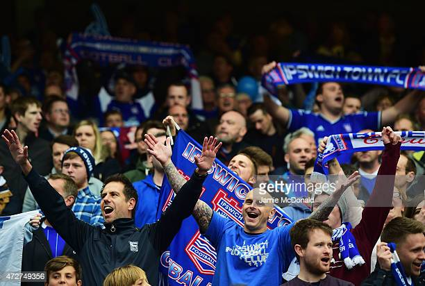 Ipswich fans show their support during the Sky Bet Championship Playoff semifinal first leg match between Ipswich Town and Norwich Cityat Portman...