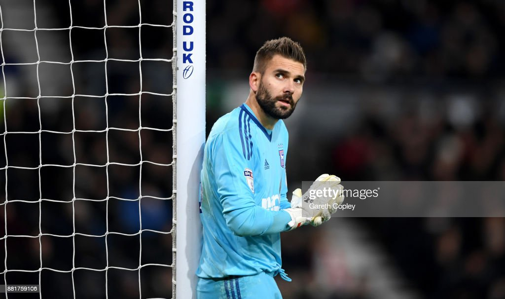 Ipswich goalkeeper Bartosz Bialkowski during the Sky Bet Championship match between Derby County and Ipswich Town at iPro Stadium on November 28, 2017 in Derby, England.