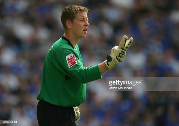 Ipswich goalkeeper Shane Supple gestures instructions to teammates during the Coca Cola Championship match between Norwich City and Ipswich Town on...