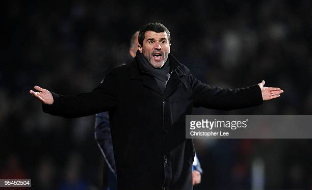 Ipswich manager Roy Keane appeals during the CocaCola Championship match between Ipswich Town and Queens Park Rangers at Portman Road on December 28...