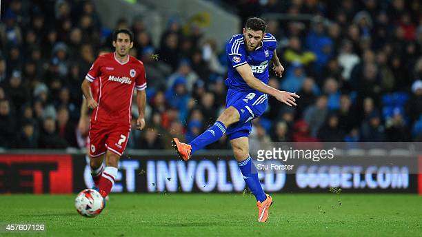 Ipswich player Daryl Murphy shoots to open the scoring during the Sky Bet Championship match between Cardiff City and Ipswich Town at Cardiff City...