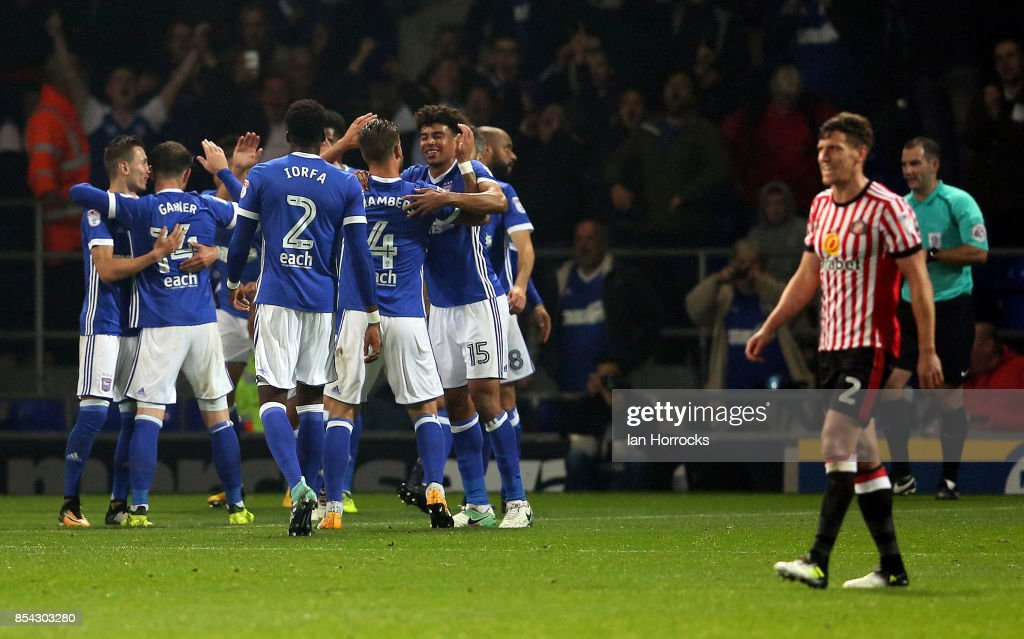 Ipswich players celebrate their fourth goal during the Sky Bet Championship match between Ipswich Town and Sunderland at Portman Road on September 26, 2017 in Ipswich, England.