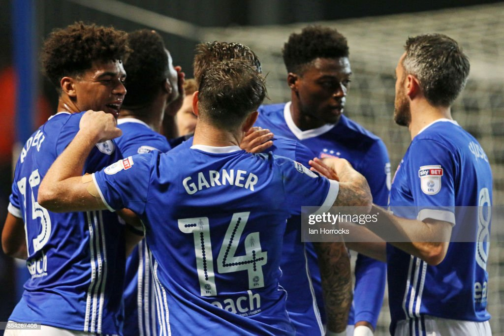 Ipswich players celebrate their second goal during the Sky Bet Championship match between Ipswich Town and Sunderland at Portman Road on September 26, 2017 in Ipswich, England.