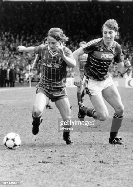 Ipswich Town 0 v Liverpool 0 Old First Division League One game at Portman Road Paul Walsh being chased by an Ipswich defender 27th April 1985