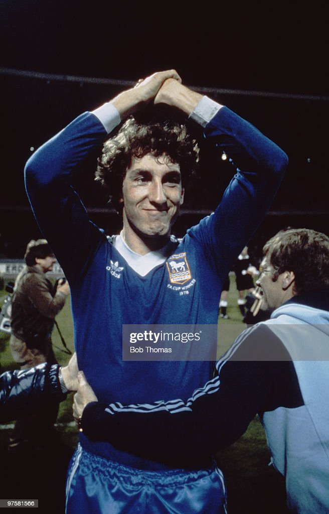 Ipswich Town defender Terry Butcher celebrates after his team's 1-0 victory over FC Cologne in the UEFA Cup semi-final, 2nd leg, at the Mungersdorfer Stadion, Cologne. 22nd April 1981.