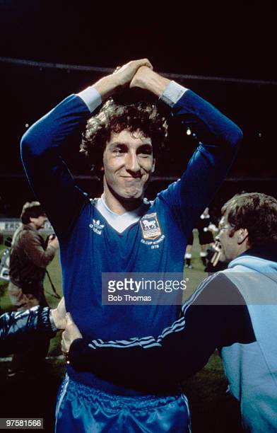 Ipswich Town defender Terry Butcher celebrates after his team's 10 victory over FC Cologne in the UEFA Cup semifinal 2nd leg at the Mungersdorfer...