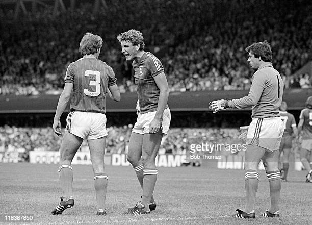 Ipswich Town defender Terry Butcher rebukes his teammate Steve McCall during their First Division match against Liverpool at Portman Road in Ipswich...