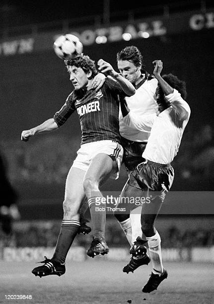 Ipswich Town defender Terry Butcher wins the ball in the air during their League Cup 3rd round match against Bradford City at Portman Road in Ipswich...